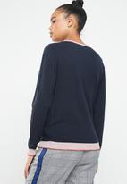 Vero Moda - Karis long sleeve o-neck knit - navy