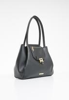 BLACKCHERRY - Faux leather handle tote bag - black