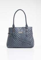 BLACKCHERRY - Faux leather handle tote bag with detachable zip purse - blue
