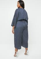 Missguided - Curve kimono sleeve culotte jumpsuit - navy & white