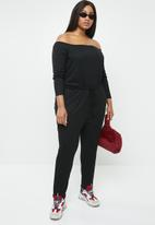 Missguided - Curve bardot rib jumpsuit - black
