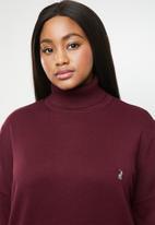 POLO - Plus size aimee long sleeve polo neck - burgundy
