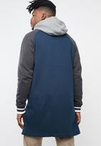 Brave Soul - Freedom longer length baseball raglan jacket - navy & grey