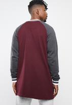 Brave Soul - Freedom longer length baseball raglan jacket - burgundy & grey