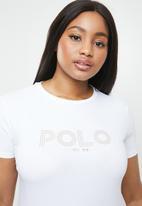 POLO - Plus size alana printed tee - white