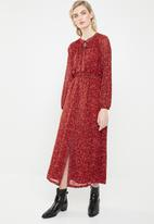 ONLY - Star maxi chiffon dress - red
