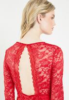 Vero Moda - Lucia long sleeve lace dress - red
