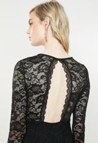 Vero Moda - Lucia long sleeve lace dress - black