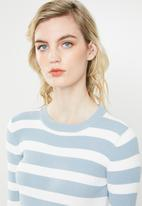 Jacqueline de Yong - Aspen treats stripe jersey - cream & blue