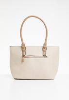 BLACKCHERRY - Colour block handle tote bag - beige