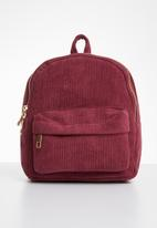 POP CANDY - Corduroy backpack - burgundy