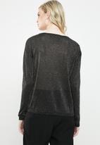 Vero Moda - Ruba lurex boatneck blouse - black