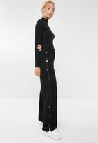 Forever21 - Wide leg trousers with side buttons - black