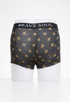 Brave Soul - Burger 2 pack boxers - white & black