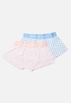 Brave Soul - Squared cotton 2 pack boxers - pink & blue