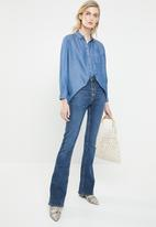ONLY - Henry 7/8 oversized denim shirt - blue