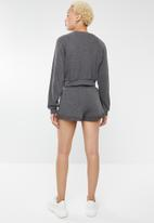 Forever21 - Sweatshirt and shorts two piece - charcoal