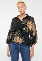 Forever21 - Floral button up blouse - black