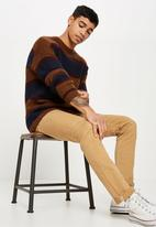 Cotton On - Box crew neck knit - navy & brown