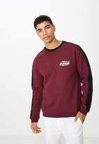 Cotton On - Collab drop shoulder pullover - burgundy