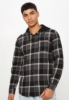 Cotton On - Rugged hooded shirt - black & grey