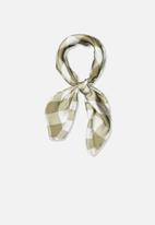 Cotton On - Soho satin scarf - olive & white