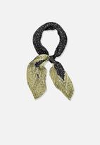 Cotton On - Soho broadway pleat scarf - black & olive