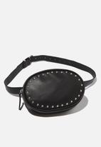 Cotton On - Brodie silver studded belt bag - black