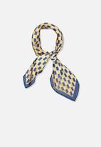 Cotton On - Soho grace geo satin scarf - blue & yellow
