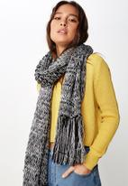 Cotton On - Nicky knitted scarf - black & grey