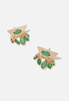 Cotton On - Delilah baroque earring - green & gold