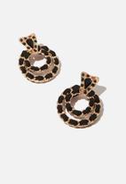 Cotton On - Eleanor romance earring - gold & black