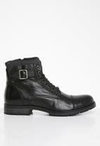Jack & Jones - Albany leather military boot - black