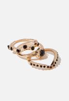 Cotton On - Kaia romance ring set - black & gold