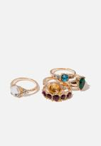 Cotton On - Leonie baroque ring set - gold