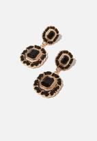 Cotton On - Penny romance earring - black & gold