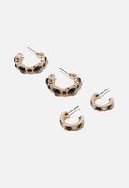 Cotton On - Suzi romance earring - black & gold