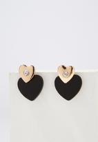 Cotton On - Ziggy romance earring - black & gold