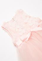 POP CANDY - Mesh Overlay Dress - mid pink
