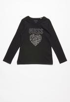 GUESS - Long sleeve guess leopard heart tee - black