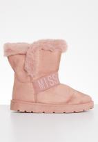 Miss Black - Flat boot - pink