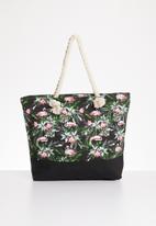 STYLE REPUBLIC - Flamingo print shopper bag - black