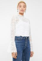 Forever21 - Lace flare sleeve top - white