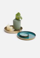 Sixth Floor - Etherea trays set of 3 - brass & turquoise