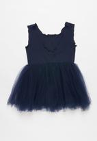 POP CANDY - Mesh combo dress - navy
