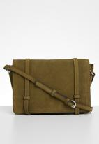 MANGO - Leather cross body bag - khaki