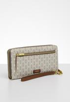 Fossil - Logan zip clutch - cream & khaki