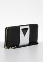GUESS - Kamryn large zip around - black & white