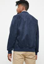 Only & Sons - Elijah faux suede bomber jacket - navy
