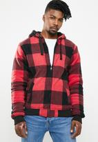 Brave Soul - Asher zip through check hoodie - red & black